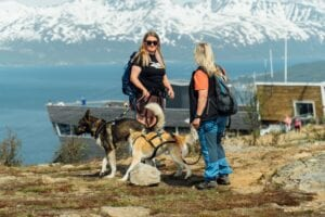 Two women in hiking clothes with two dogs standing next to a cable car station